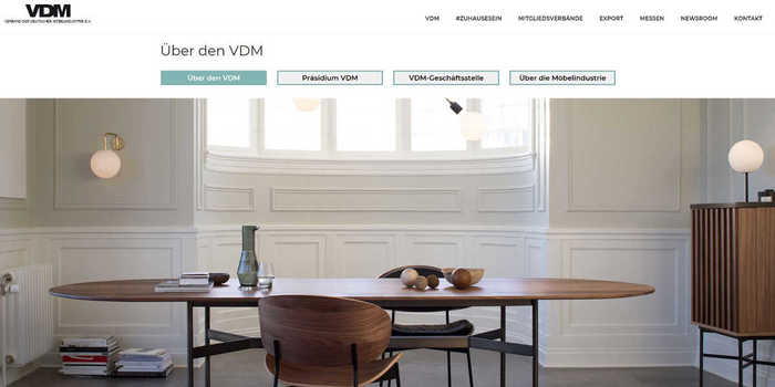 Screenshot der neuen VDM-Homepage