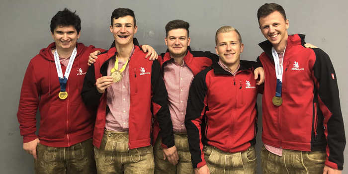Von links: Lukas Wolf (Gold Teambewerb),Stefan Erös (Gold), Mike Fink (Medallion for Excellence), Mike Ade (Medallion for Excellence), Manuel Franz (Gold Teambewerb).