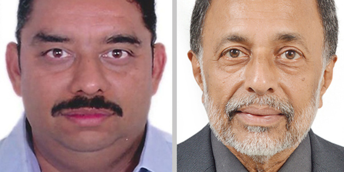 Der neue und der alte Geschäftsführer (rechts) von Dieffenbacher India Pvt. Ltd, von links: Sachin Pendharkar und Ravichandra Tavag